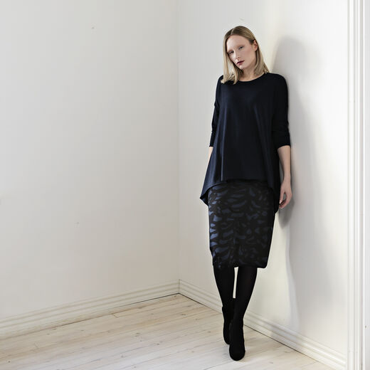 Meri knitted skirt Black and Petrol